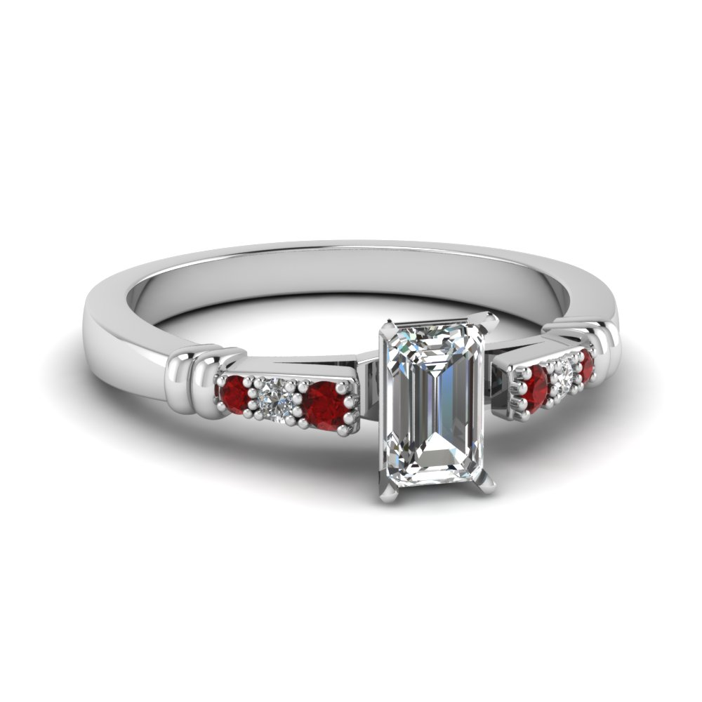 pave bar set emerald cut diamond engagement ring with ruby in FDENS363EMRGRUDR NL WG