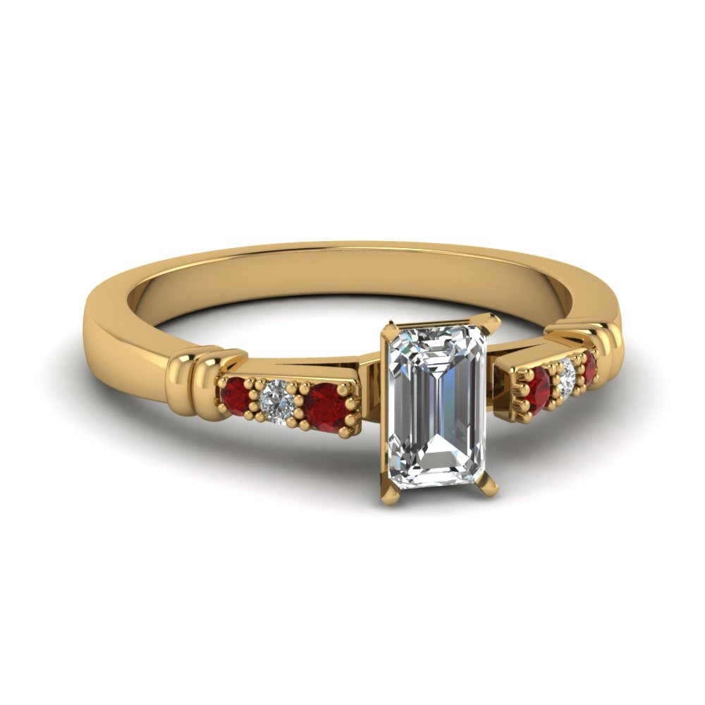 pave bar set emerald cut diamond engagement ring with ruby in FDENS363EMRGRUDR NL YG