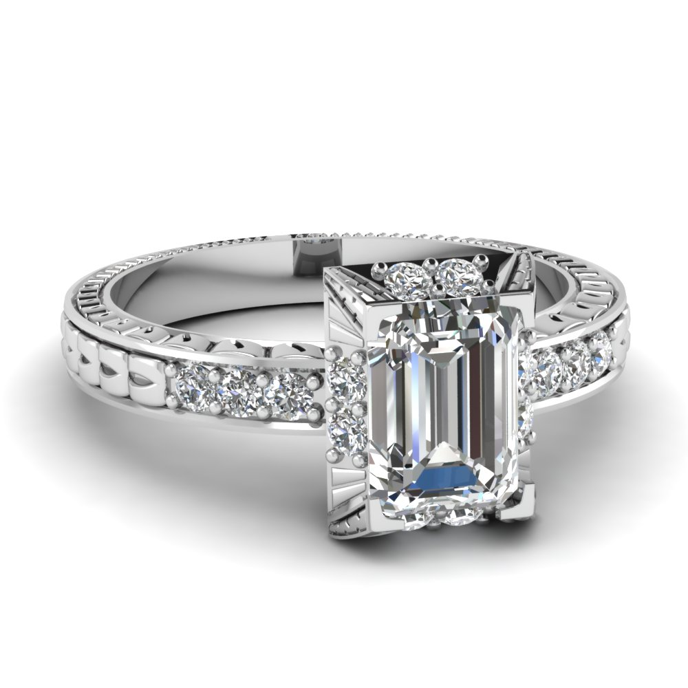 Engraved Emerald Cut Vintage Engagement Ring