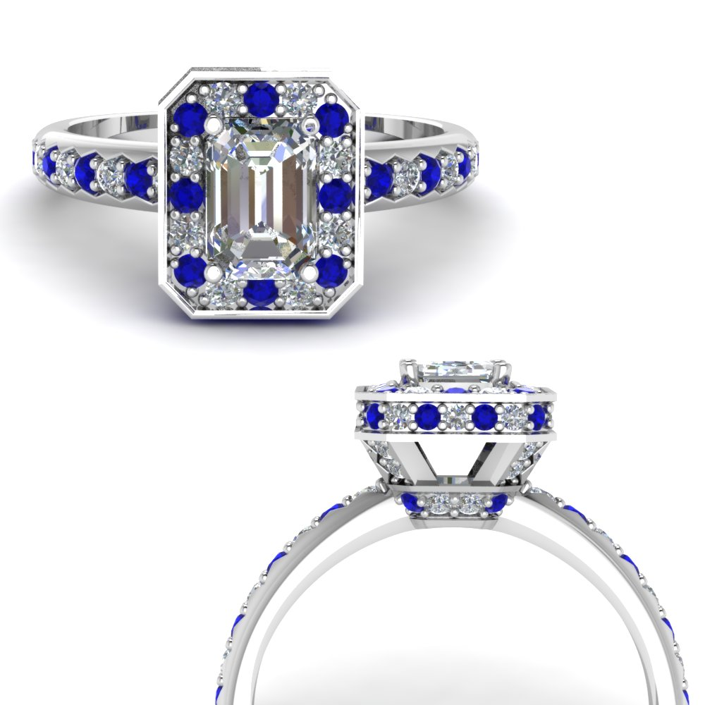 basket hidden halo emerald cut diamond engagement ring with sapphire in FDENR7309EMRGSABLANGLE3 NL WG