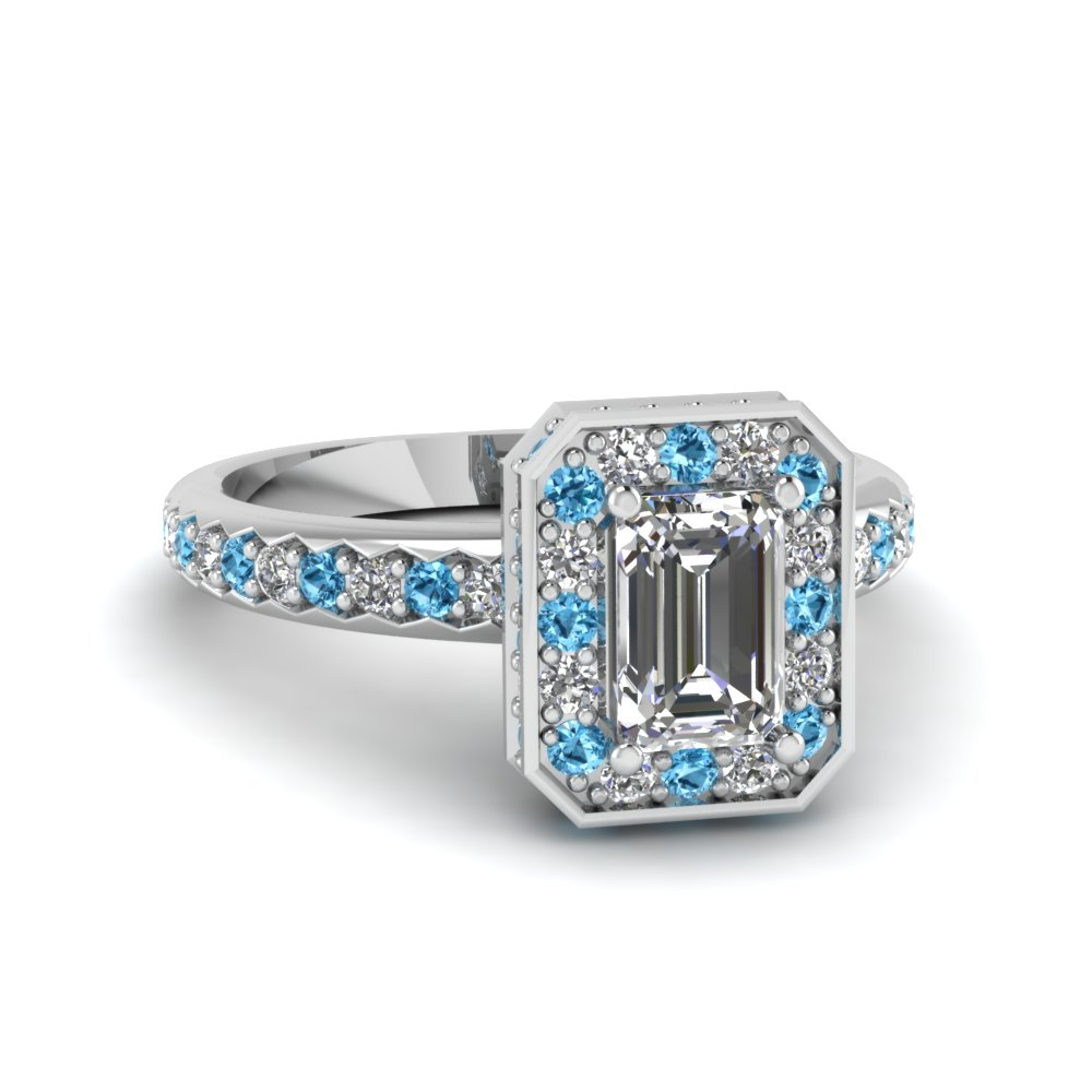 Pave Set Round Diamond And Sapphire Emerald Cut Halo Engagement Ring