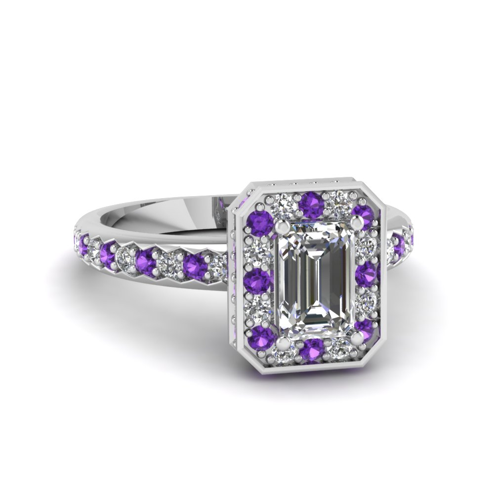 Emerald cut Diamond and Purple Topaz Beautiful Engagement Rings