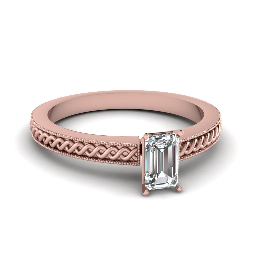 Solitaire Diamond Milgrain Ring