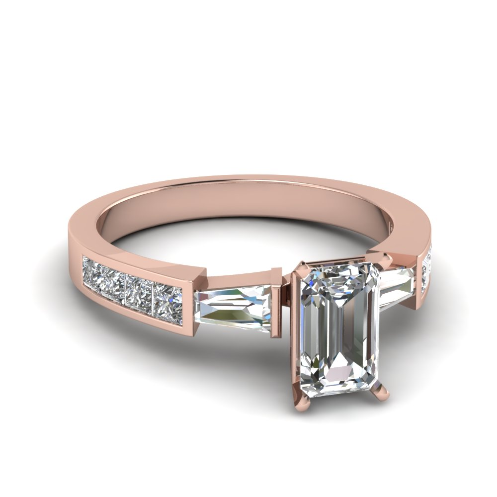 3 Stone Emerald Cut Diamond Ring