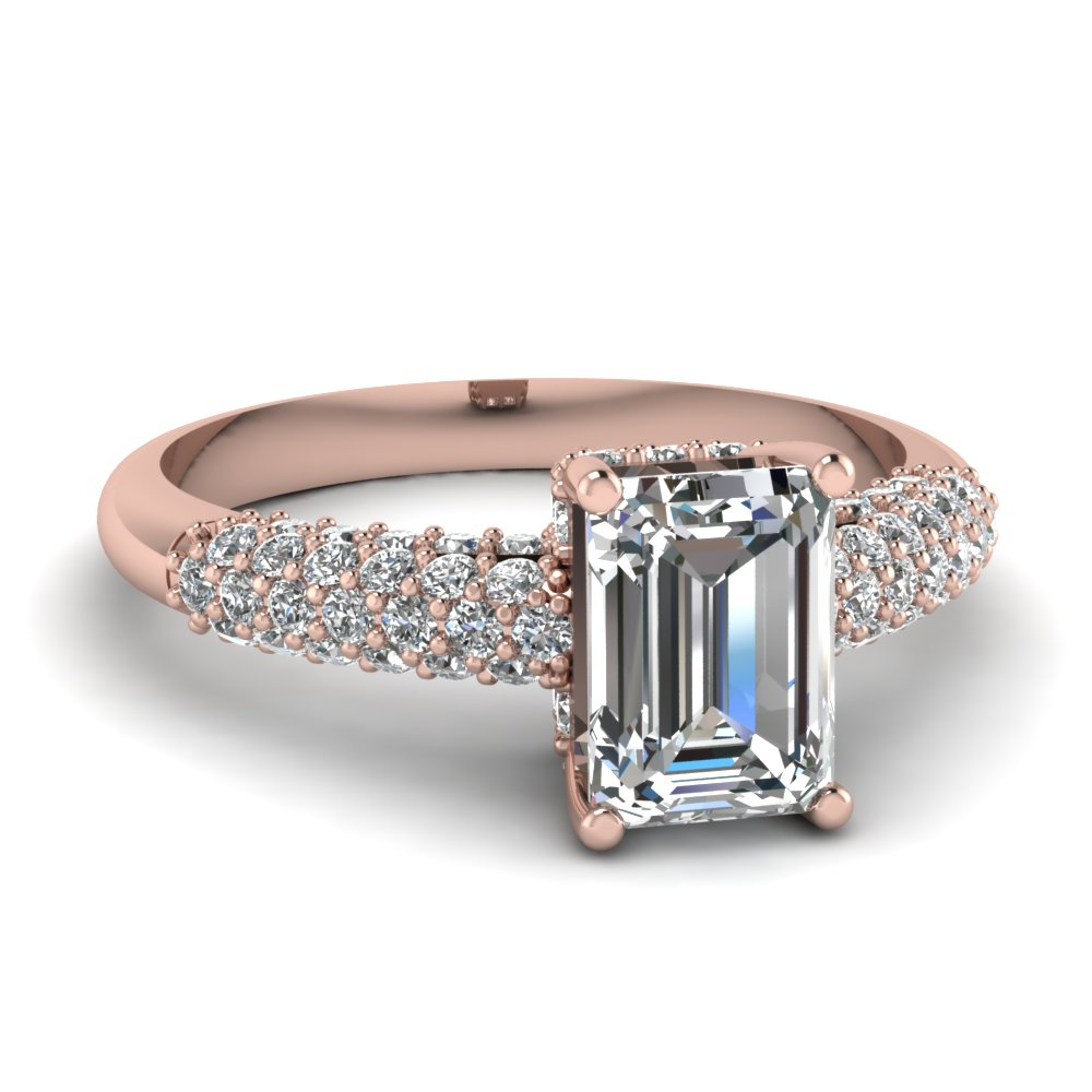 Emerald Cut Diamond Engagement Ring In 14K Rose Gold FDENR6436EMR NL RG