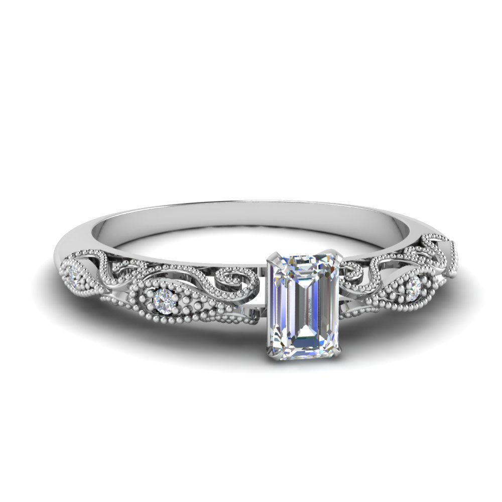 paisley emerald cut diamond engagement ring in FD69805EMR NL WG