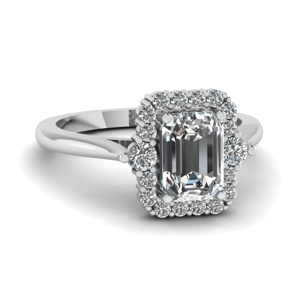 High Set Halo Engagement Ring
