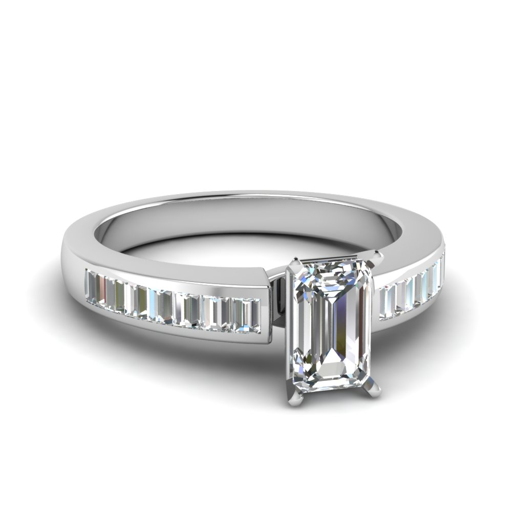 channel baguette emerald cut diamond engagement ring in FDENR1009EMR NL WG