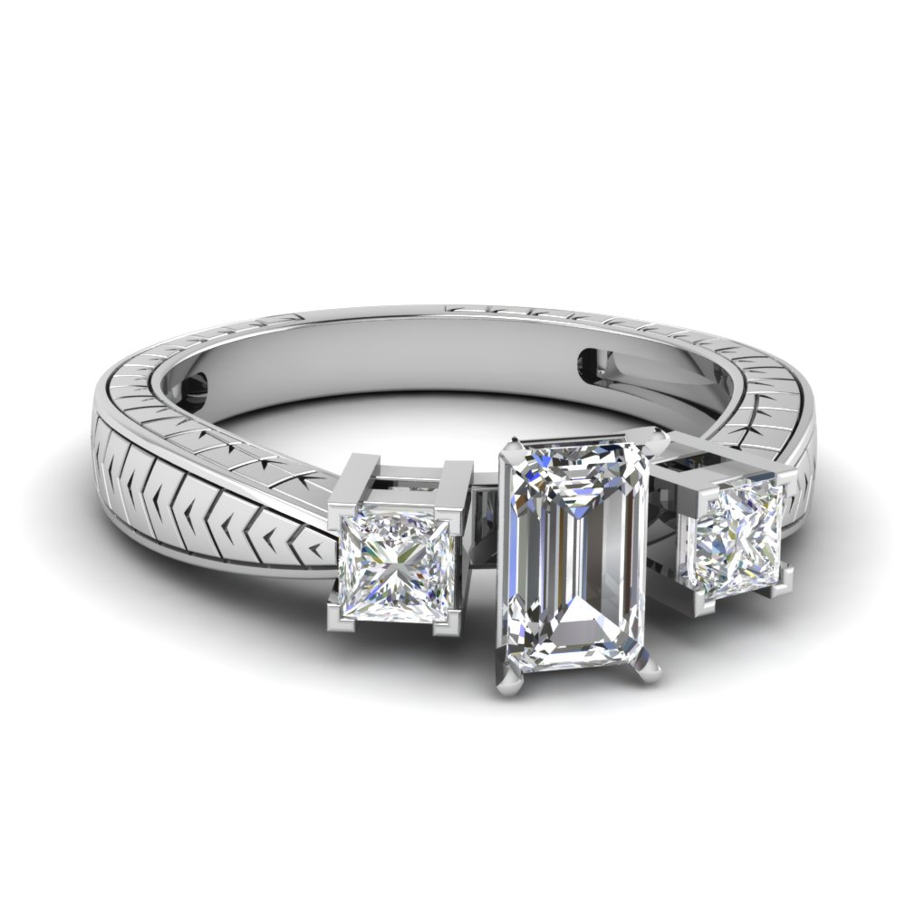 0.75 Ct. Emerald Cut Diamond Engagement Ring For Her