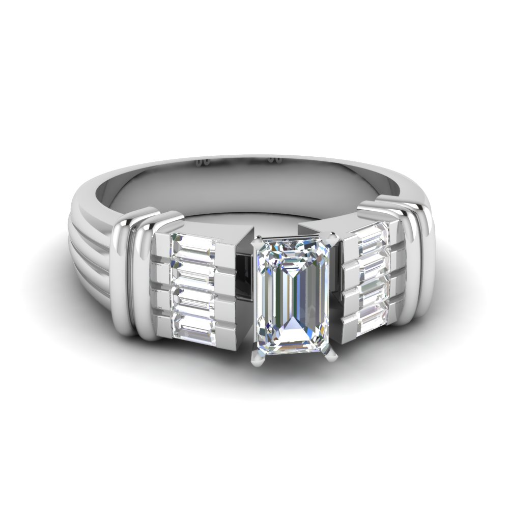 baguette emerald cut diamond wide engagement ring in FDENR2184EMR NL WG