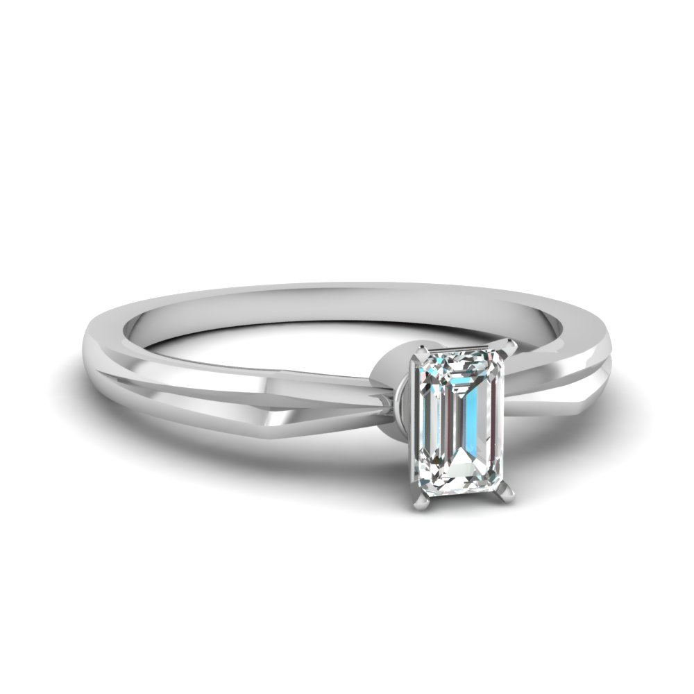 tapered emerald cut diamond solitaire engagement ring in FDENR3757EMR NL WG