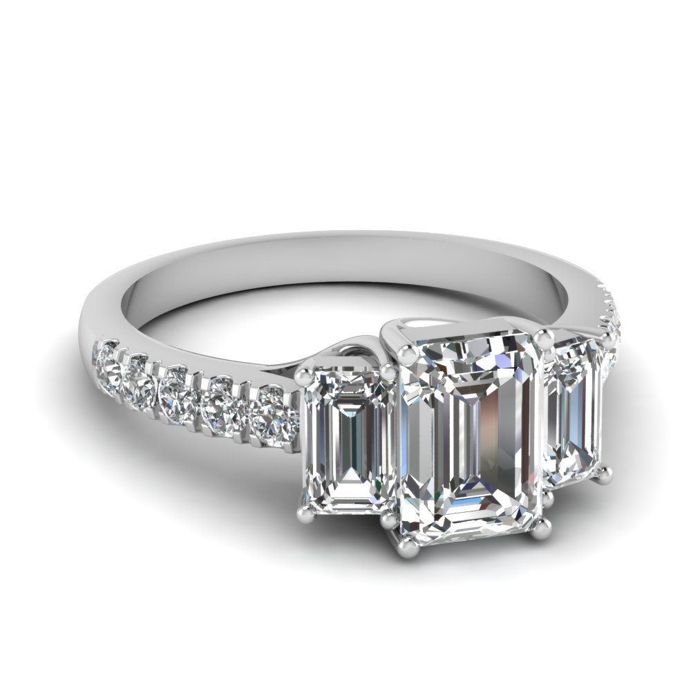 2 carat diamond emerald cut 3 stone engagement ring in FDENR7282EMR NL WG