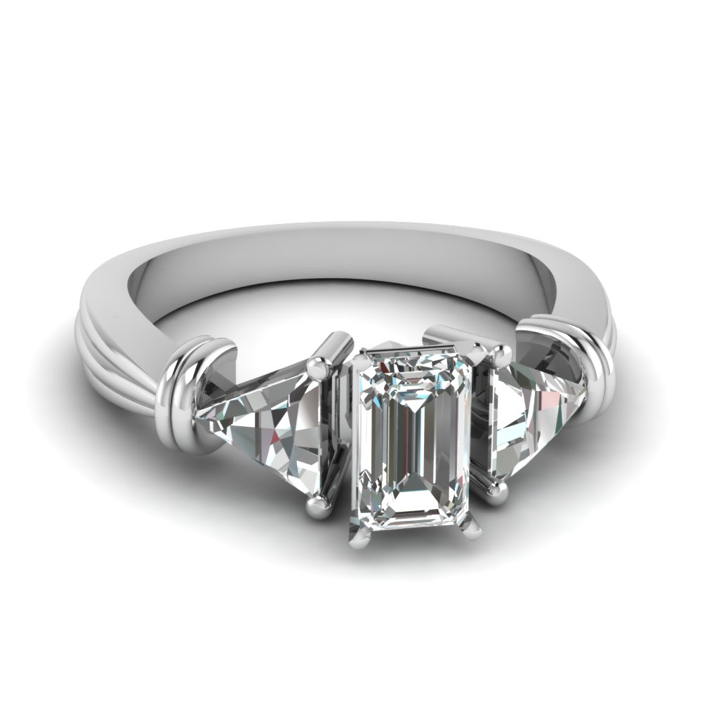 trillion 3 stone emerald cut diamond engagement ring in FDENS623EMR NL WG
