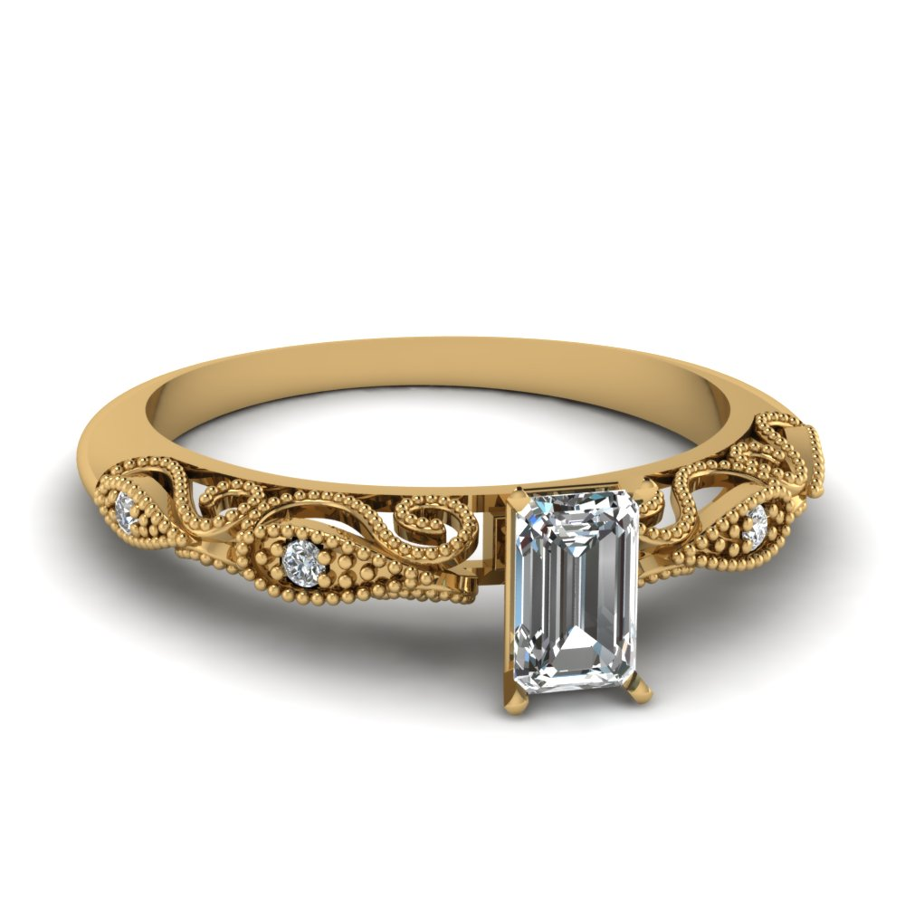 Emerald Cut Paisley Diamond Ring In 14K Yellow Gold