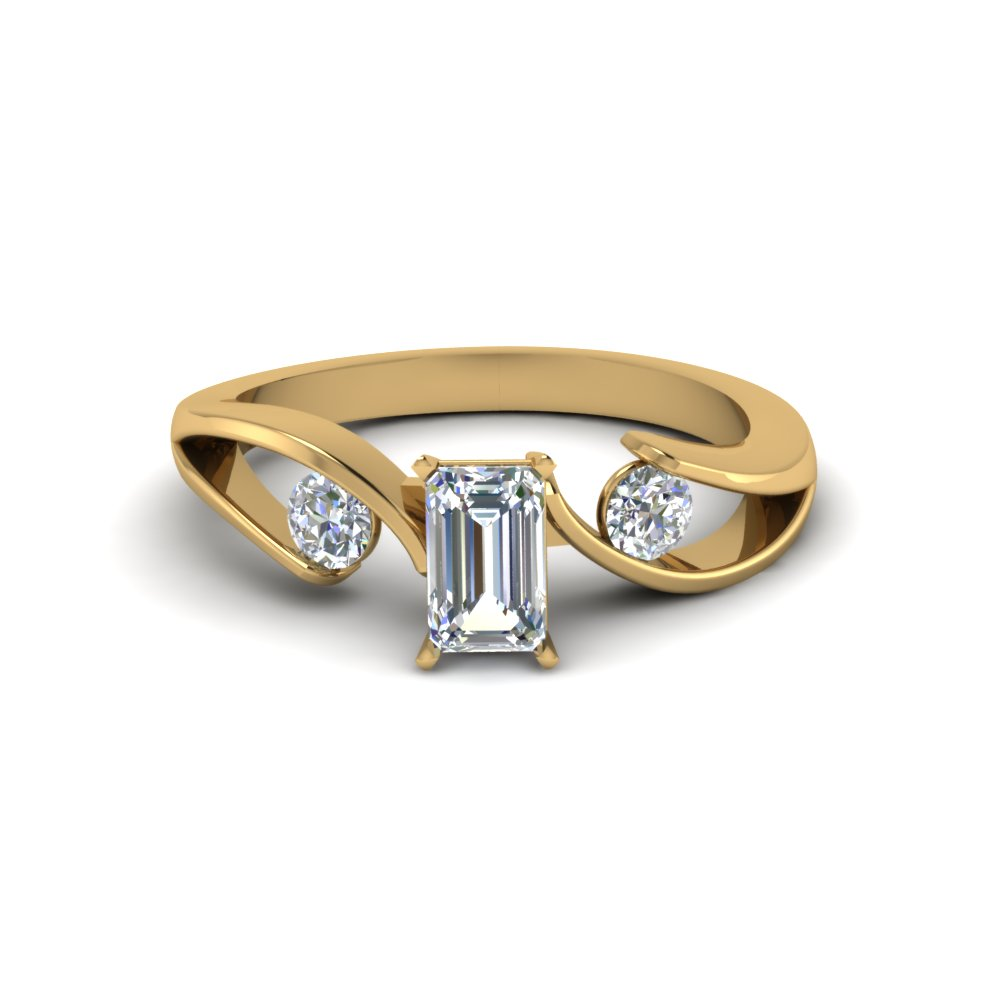 tension set emerald cut 3 stone diamond engagement ring in FDENR1140EMRANGLE1 NL YG