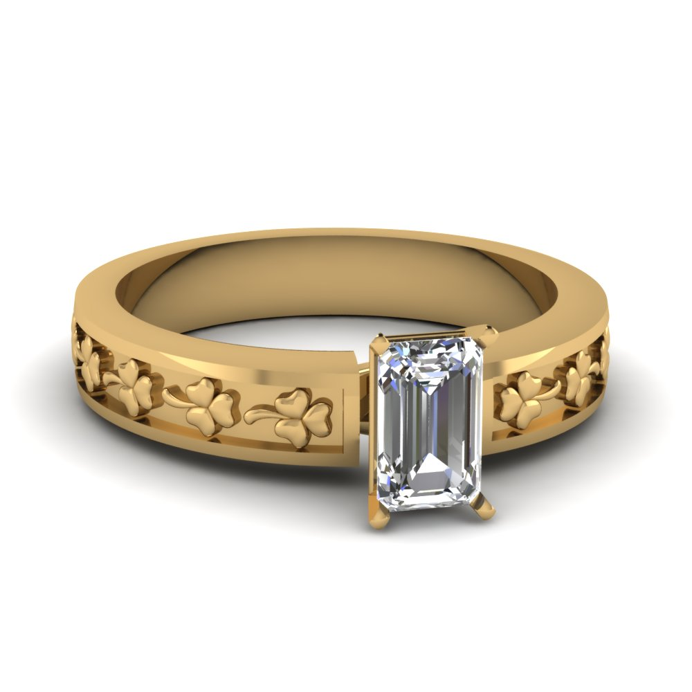 emerald cut floral solitaire engagement ring in FDENS3629ASR NL YG.jpg