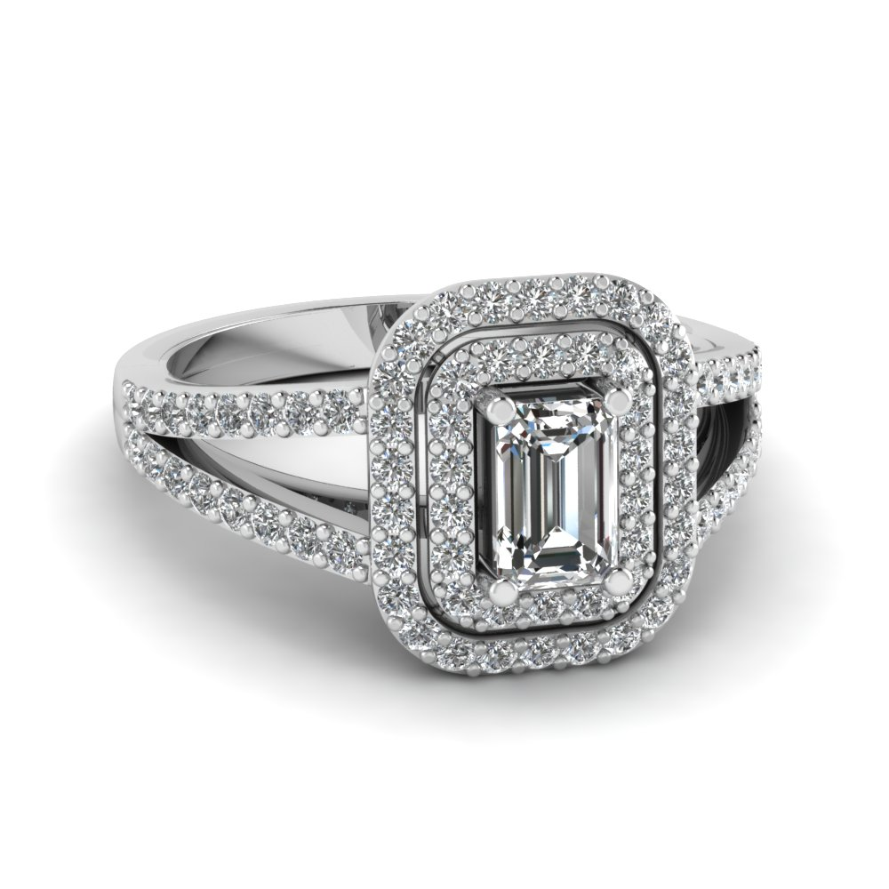 double halo split lab diamond engagement ring in FD68898EMR NL WG