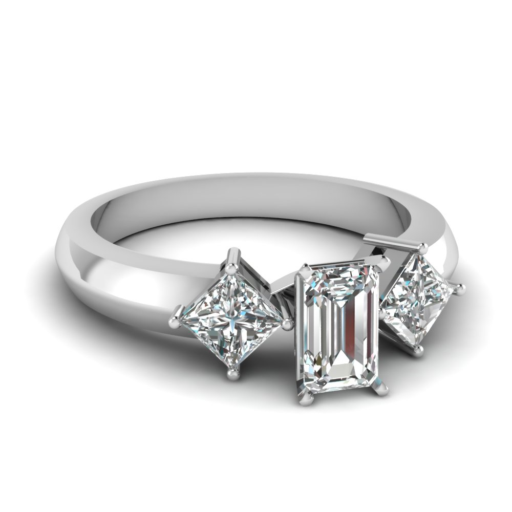 kite set 3 stone emerald cut engagement ring in FDENR263EMR NL WG