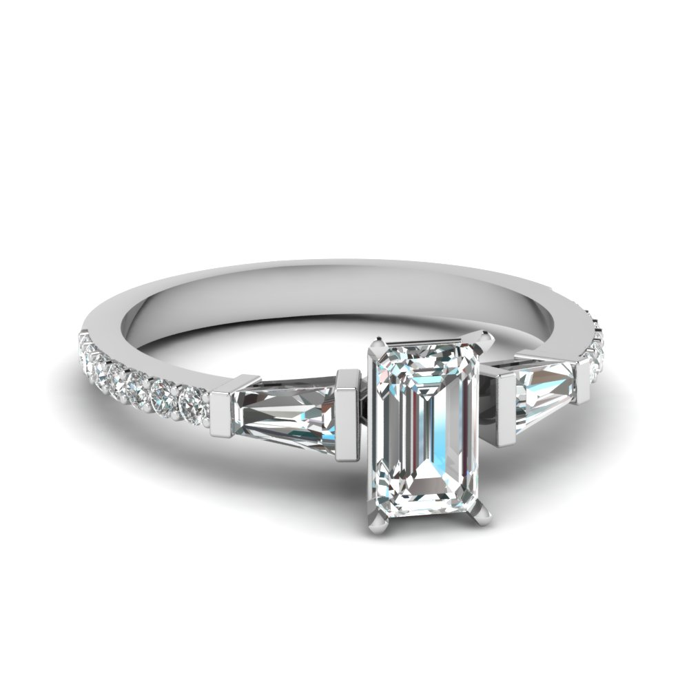 3 Stone Baguette Emerald Cut Diamond Engagement Ring In 18K White Gold