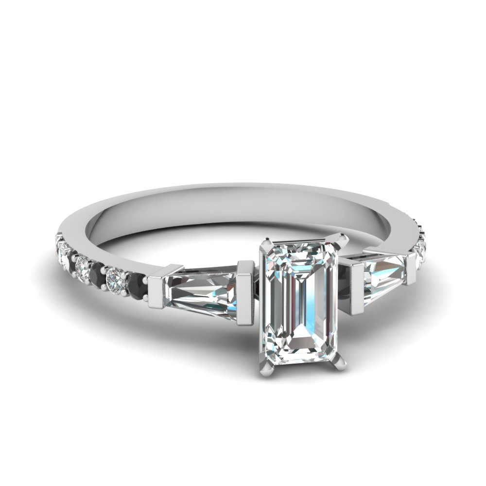 emerald cut diamond engagement ring with black diamond in 14k