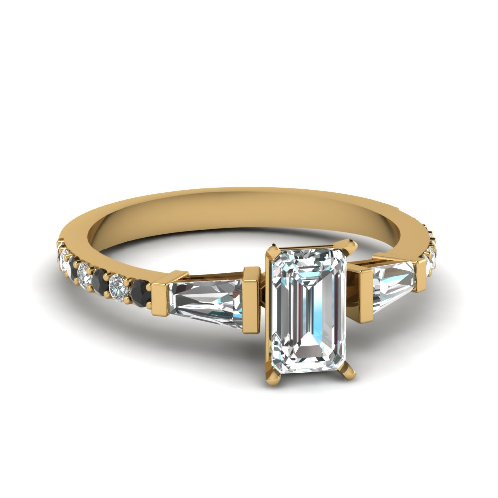 Emerald Cut Diamond Engagement Ring With Black Diamond In 14K Yellow Gold