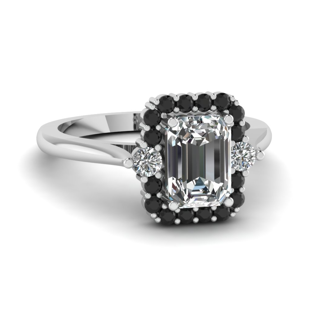 emerald cut diamond engagement ring with black diamond in 950