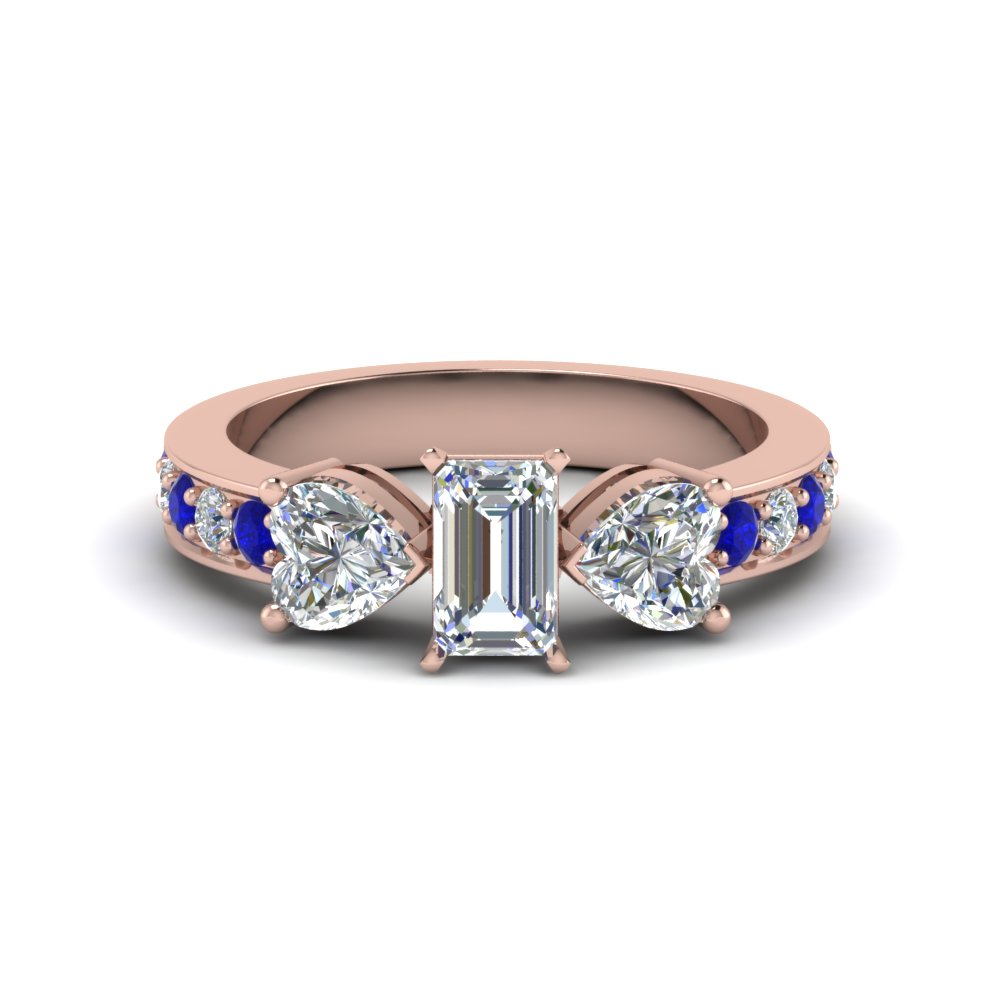 Emerald Cut 3 Stone Rose Gold Anniversary Rings