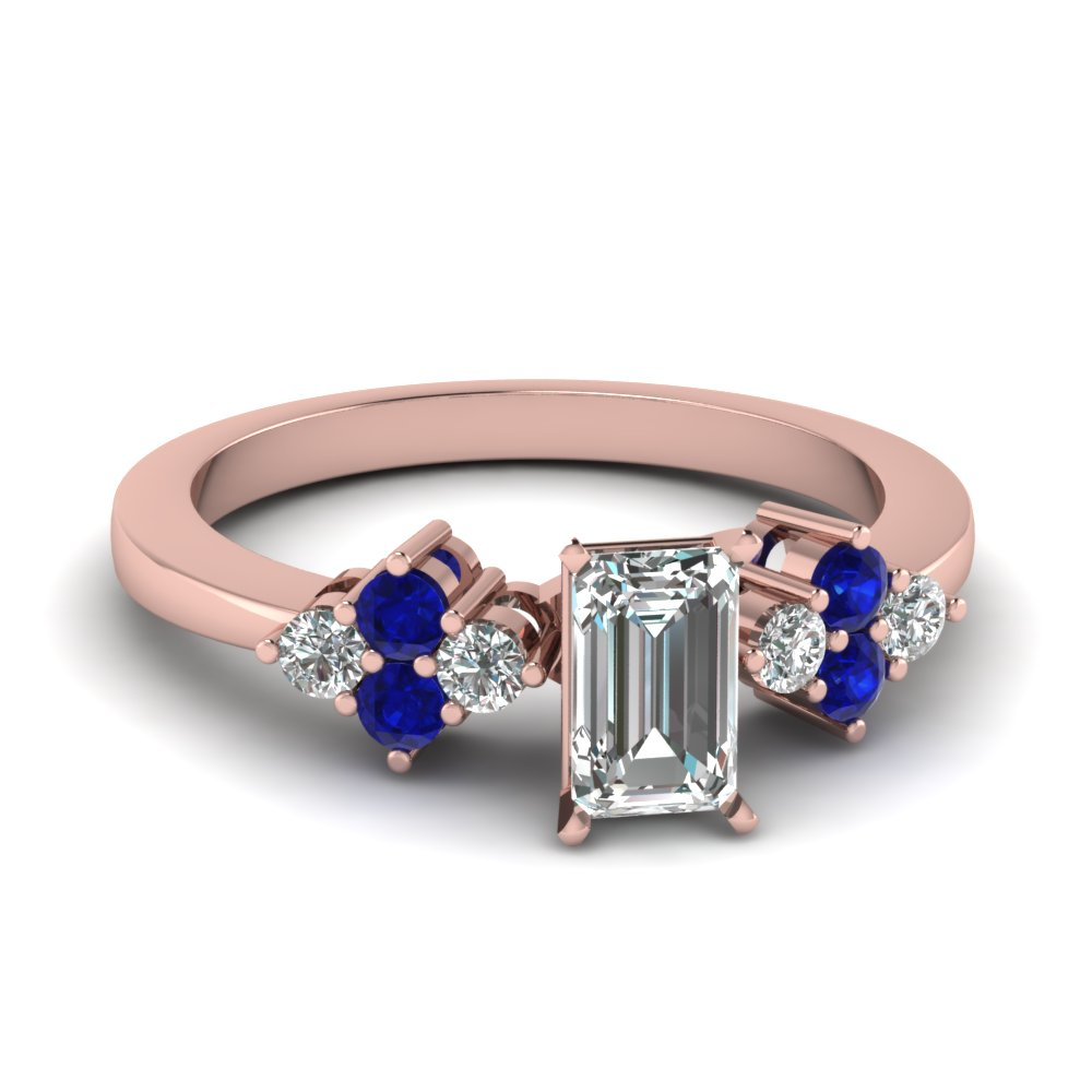 Round Sapphire Accented Emerald Cut Diamond Engagement Ring