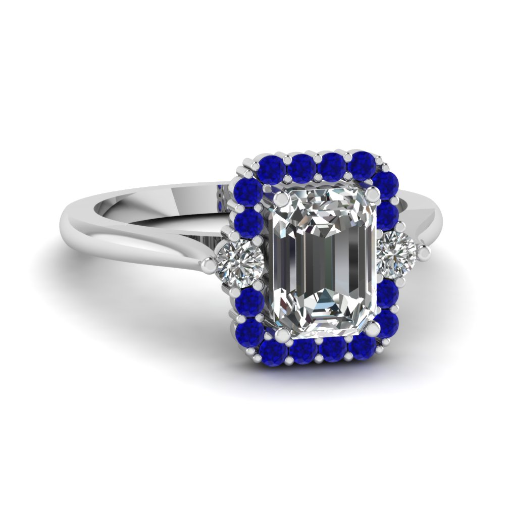 high set halo diamond engagement ring with sapphire in FD1141EMRGSABL NL WG