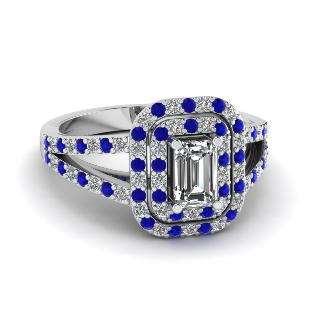 Emerald Diamond Blue Sapphire Double Halo Ring