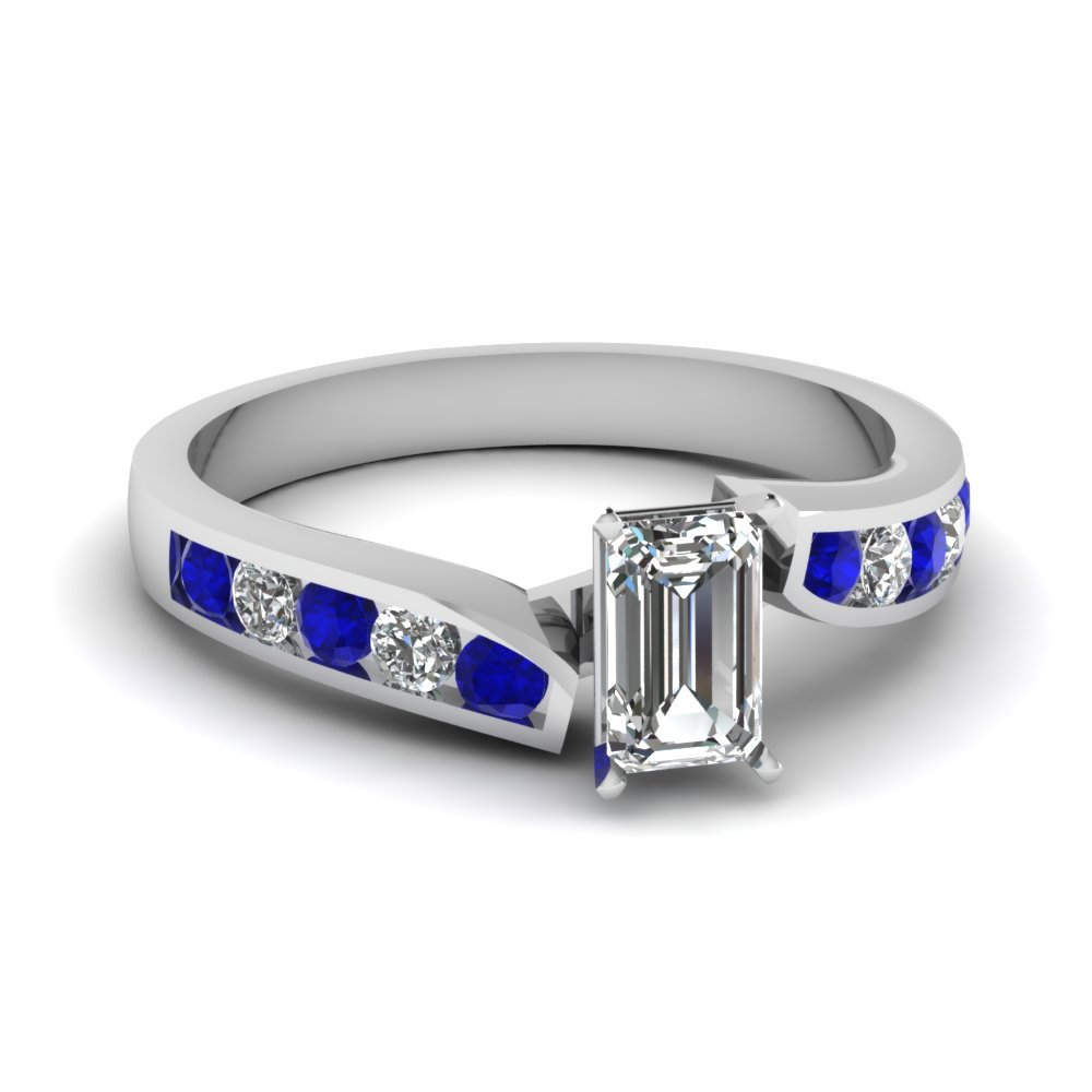 Emerald Cut Diamond Side Stone Rings