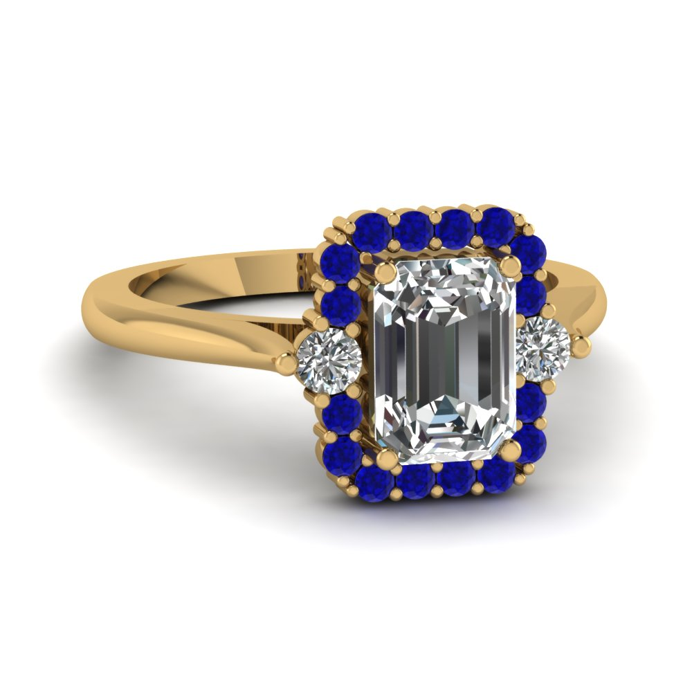 Customize Your Blue Sapphire Halo Engagement Rings