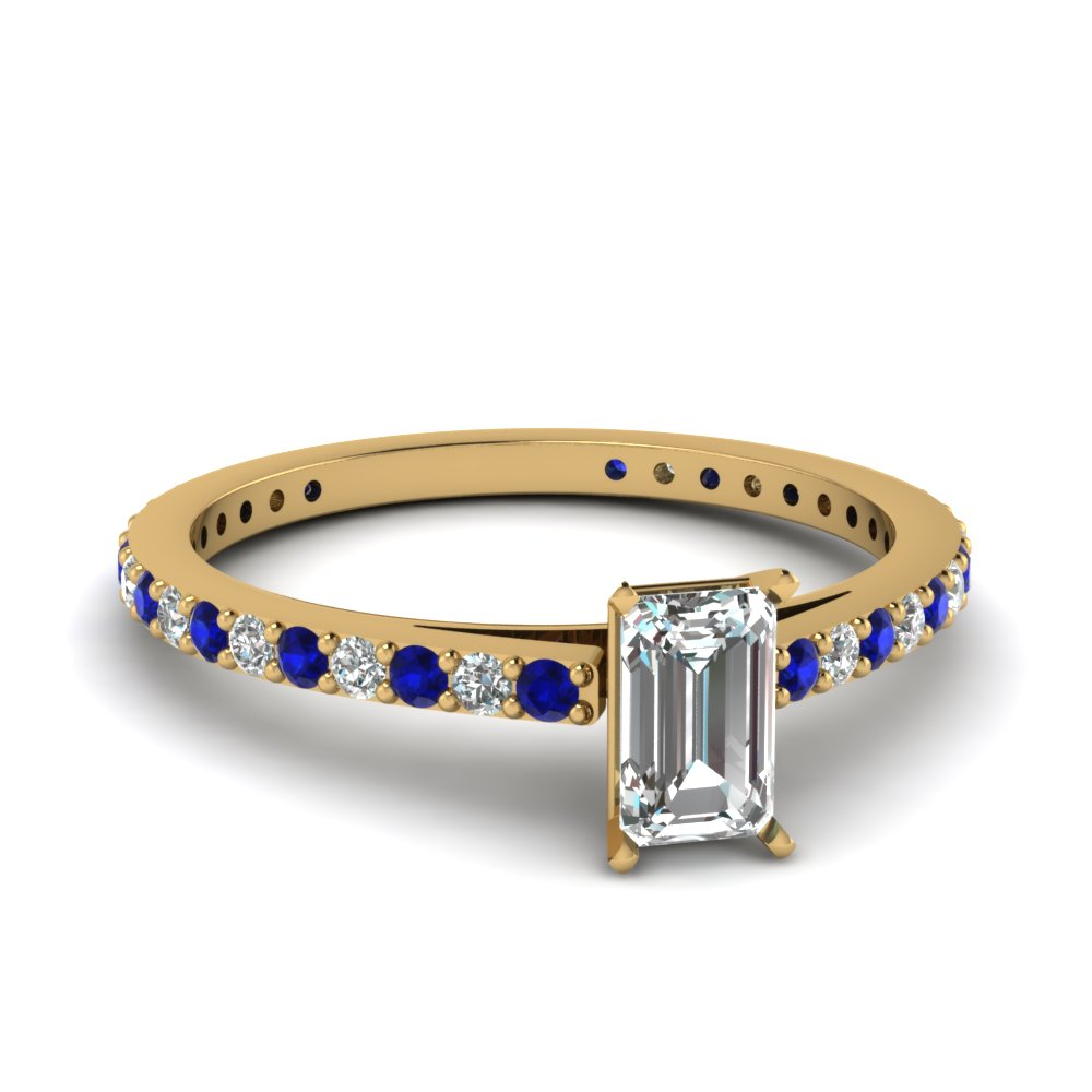 classic delicate emerald cut diamond engagement ring with sapphire in FDENS1425EMRGSABL NL YG