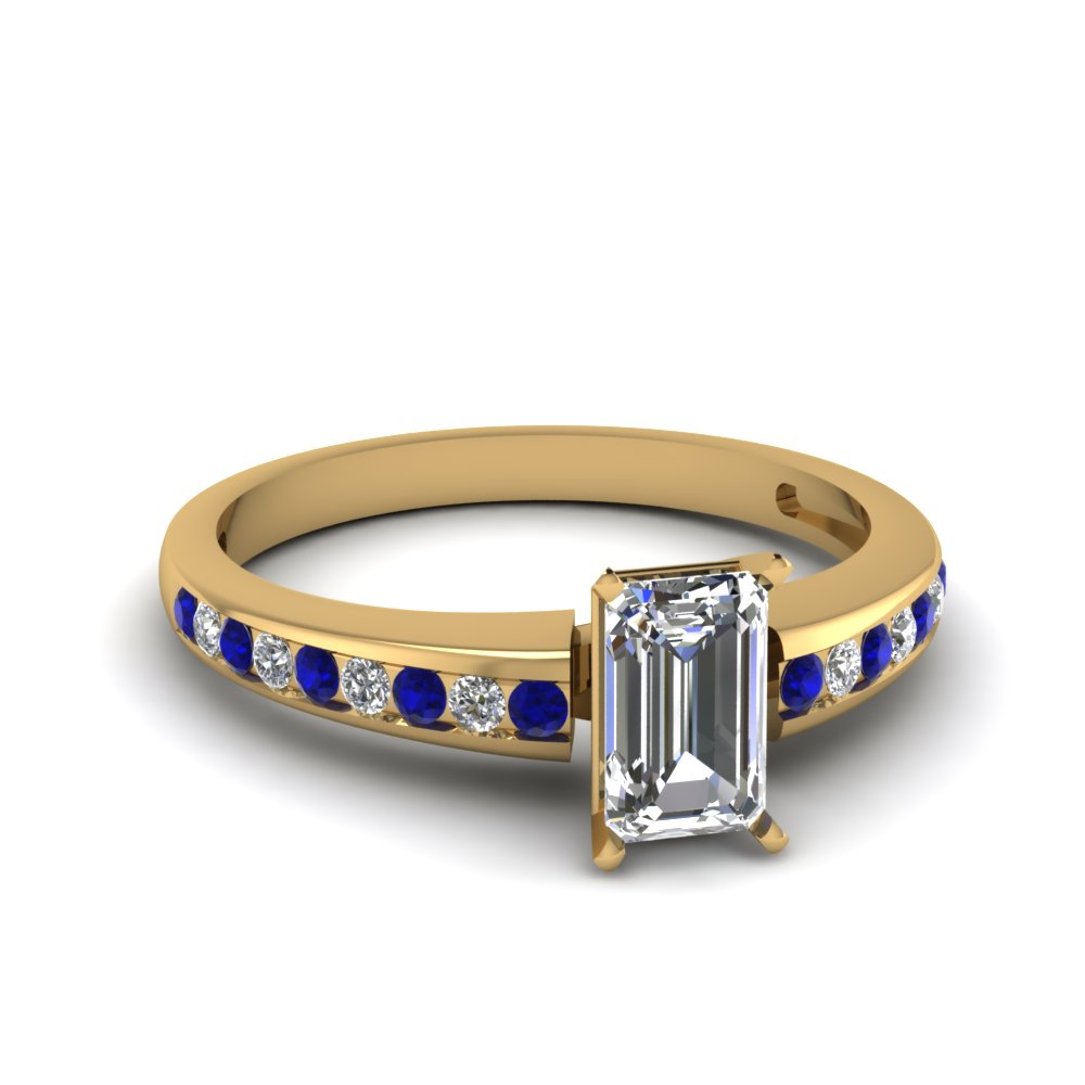 channel set emerald cut diamond engagement ring with sapphire in FDENS3018EMRGSABL NL YG