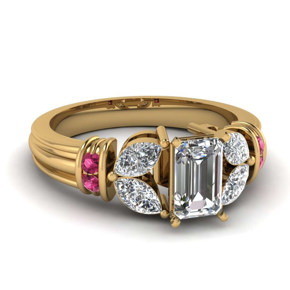 antique design emerald cut diamond engagement ring with pink sapphire in FDENR2112EMRGSADRPI NL YG