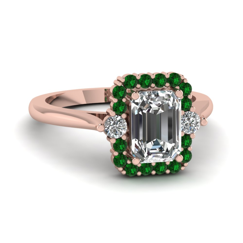 Green Emerald Halo Ring