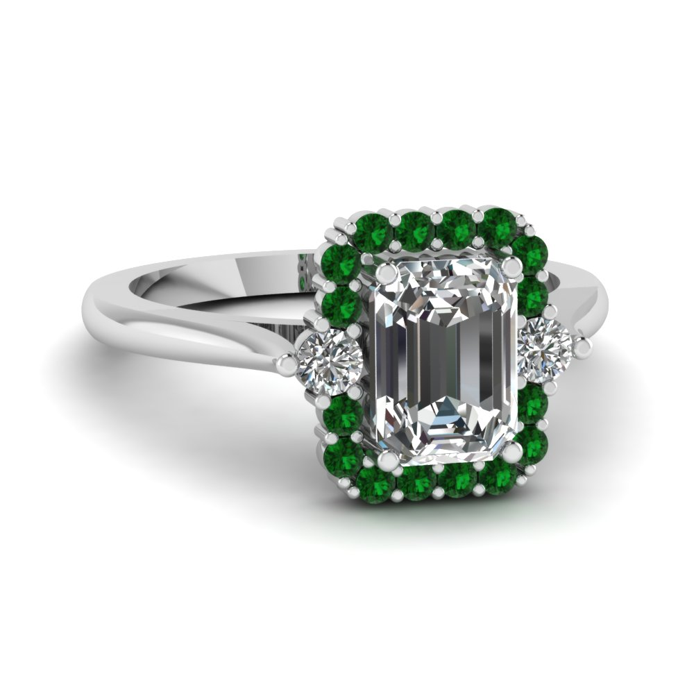 high set halo diamond engagement ring with emerald in FD1141EMRGEMGR NL WG
