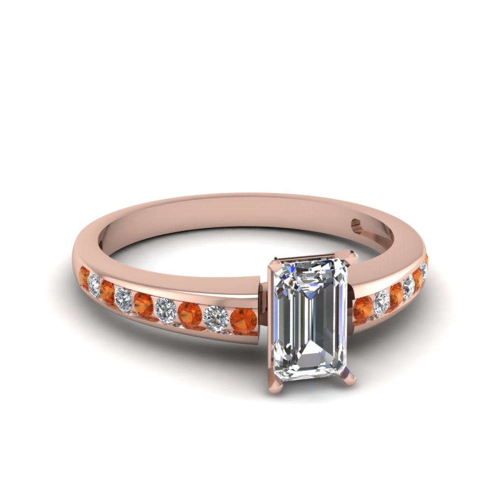 Emerald Cut Engagement Ring With Round Orange Sapphire And Diamond Accents