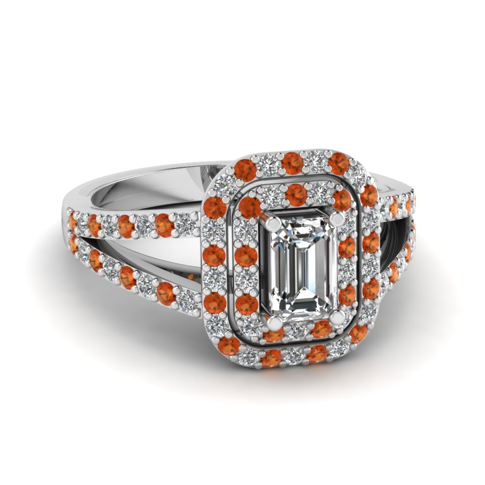 Buy Our Orange Sapphire Double Halo Engagement Rings| Fascinating Diamonds