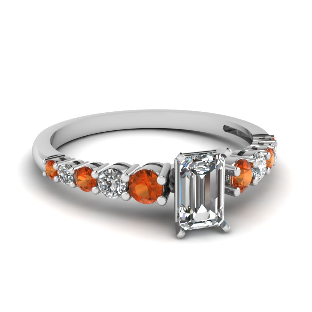 graduated emerald cut diamond engagement ring with orange sapphire in FDENS3056EMRGSAOR NL WG