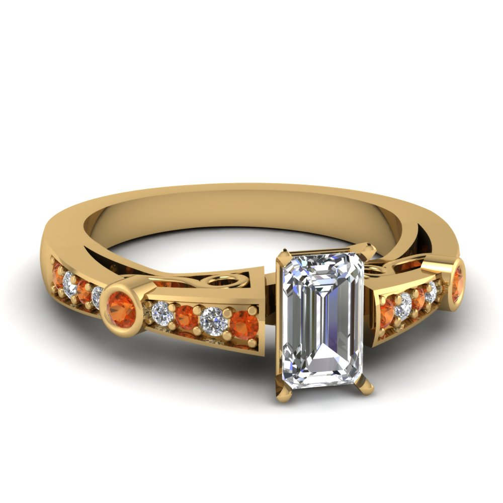 emerald cut diamond tapered vintage engagement ring with orange sapphire in FDENR3142EMRGSAOR NL YG