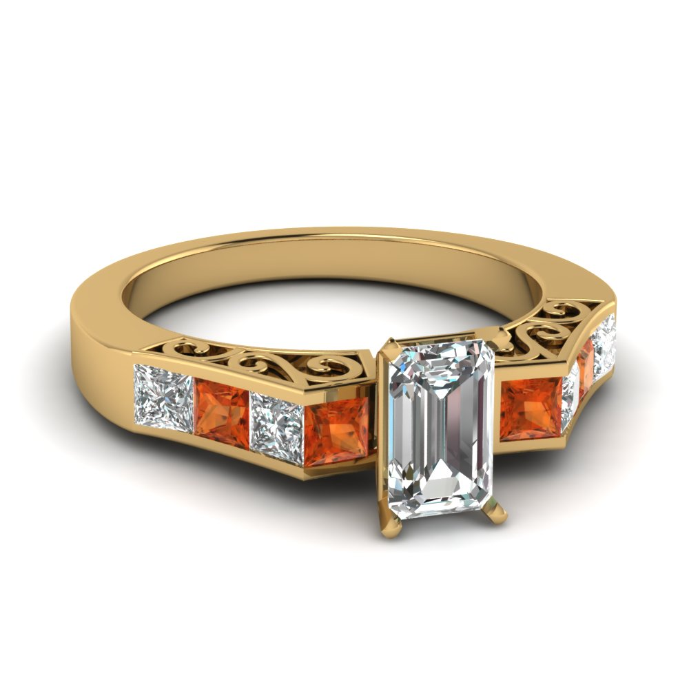 channel diamond emerald cut vintage engagement ring with orange sapphire in FDENS151EMRGSAOR NL YG