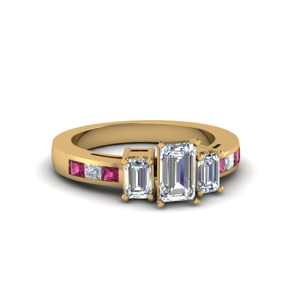 channel set 3 stone emerald cut diamond engagement ring with pink sapphire in FDENS207EMRGSADRPI NL YG