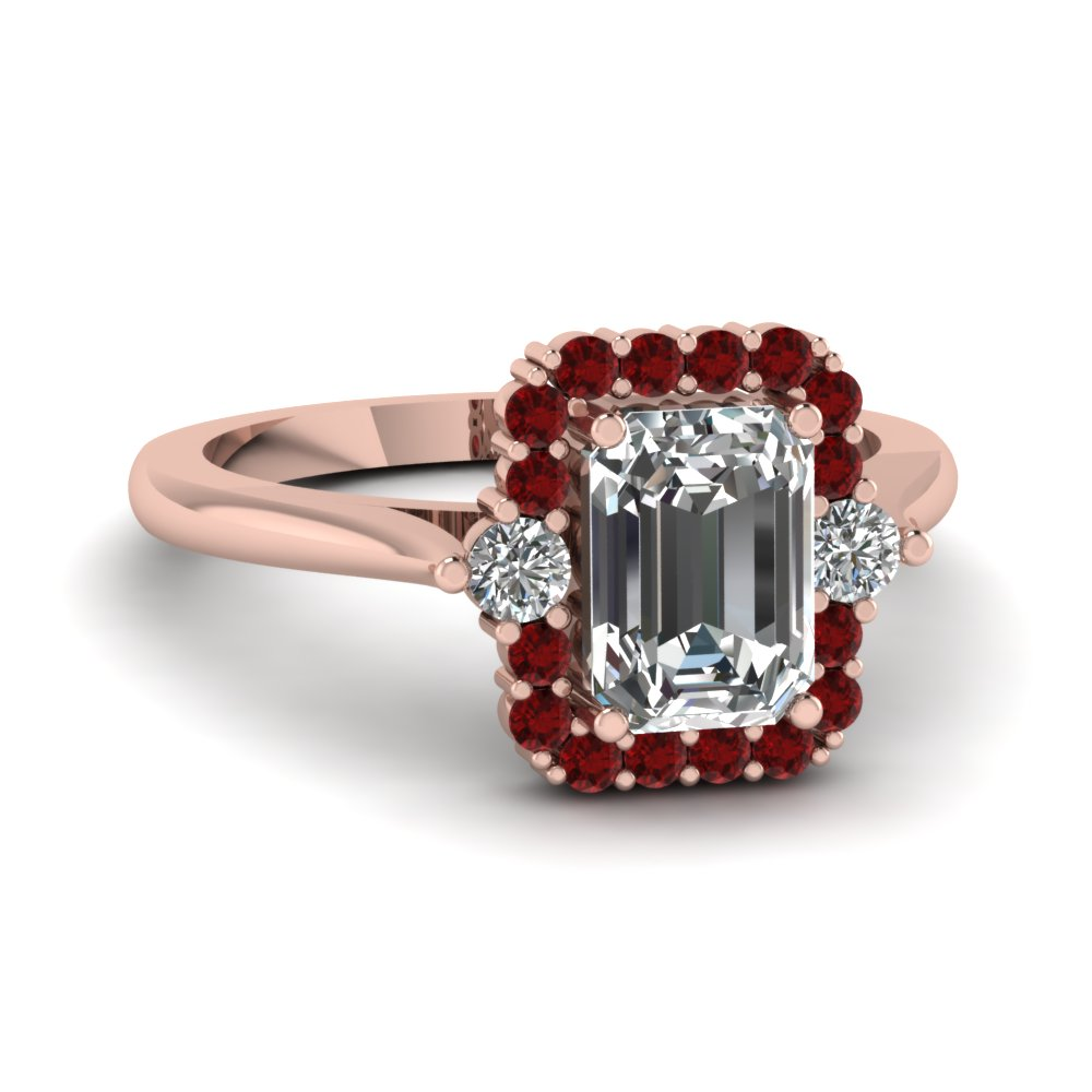 high set halo diamond engagement ring with ruby in FD1141EMRGRUDR NL RG