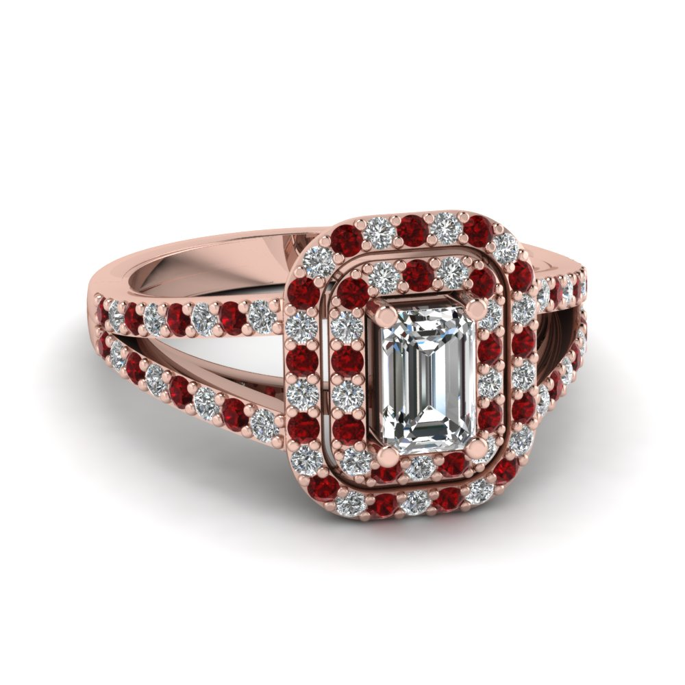double halo split diamond engagement ring with ruby in FD68898EMRGRUDR NL RG