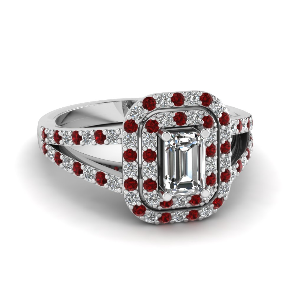 Pave Split Ruby Double Halo Ring
