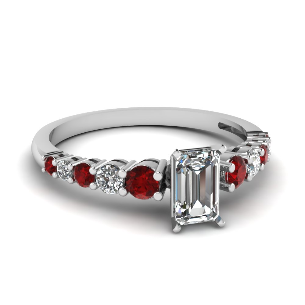 Emerald Cut Diamond Petite Engagement Rings With Red Ruby In 14k White Gold