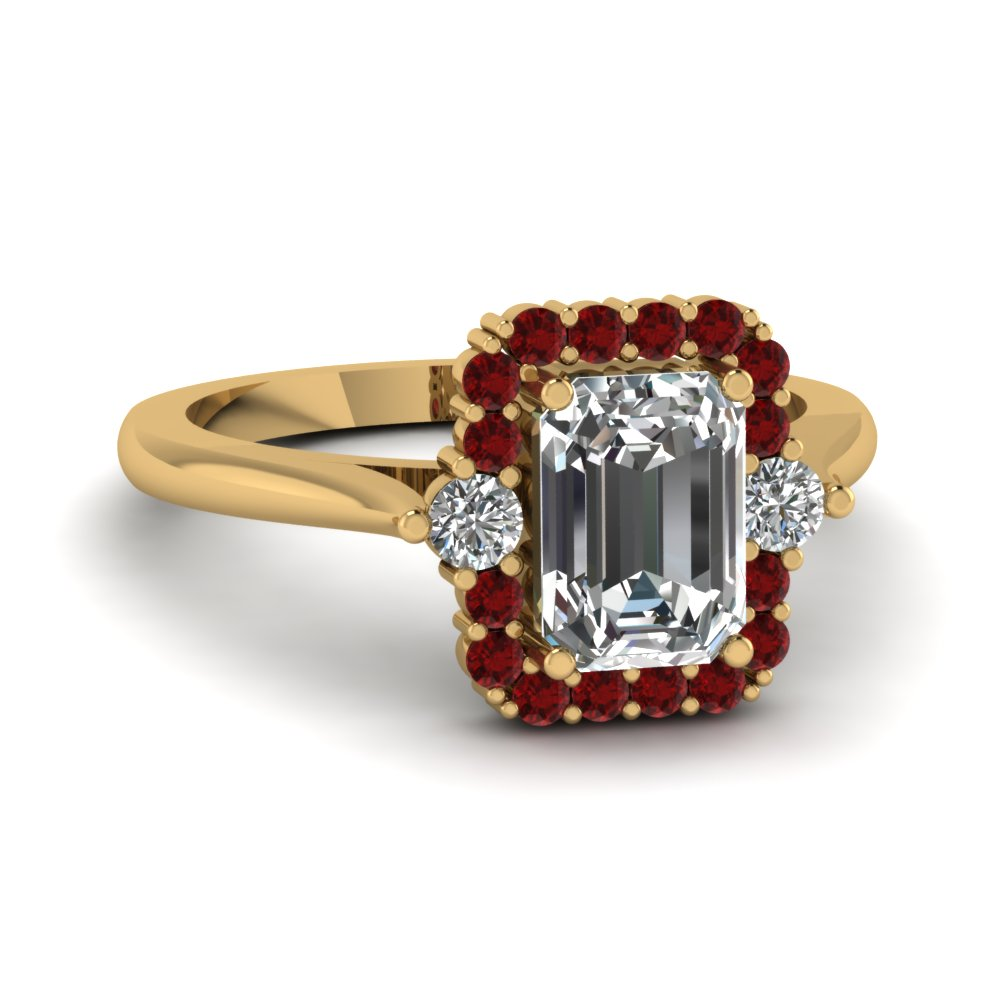 Round Ruby Bordered Emerald Cut Engagement Ring