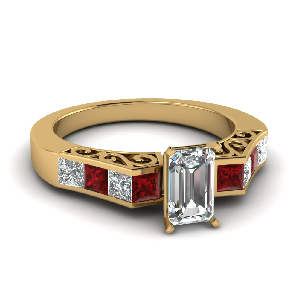 Gold Channel Set Emerald Cut Ruby Ring