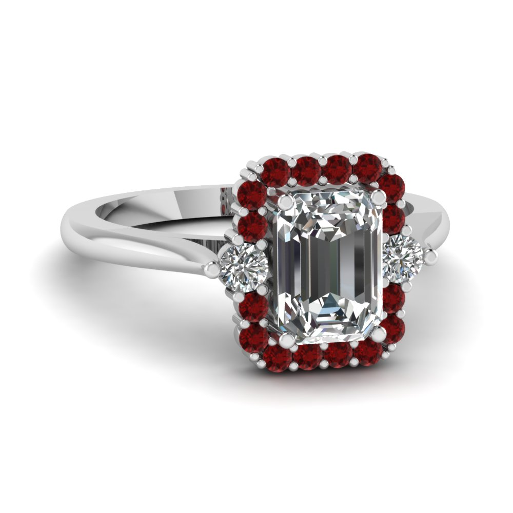 high set halo diamond engagement ring with ruby in FD1141EMRGRUDR NL WG